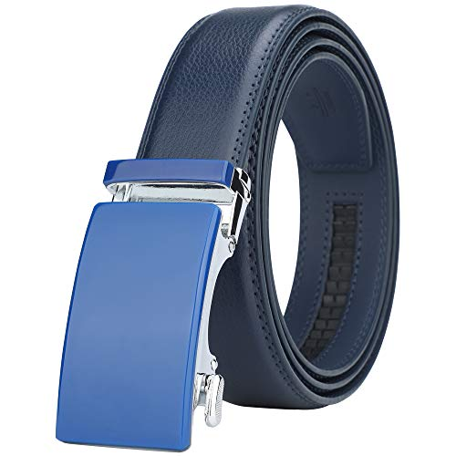 (Dante Men's Real Leather Ratchet Dress Belt with Automatic Buckle,Elegant Gift Box(55-44308 Blue Leather))