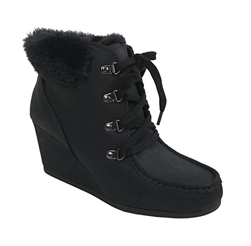 City Classified Women's Fur Cuff Ankle Bootie Wedge Lace Up Eyelets Warm Boot, Black, 7 (Black Lined Ankle Cuff)