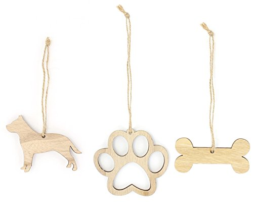 Pitbull Christmas Ornament Dog Lover Gifts Wooden Christmas Ornaments 3-Piece Bundle