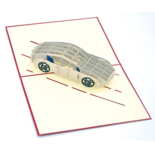 [Medigy 3D Pop Up Greeting Cards Car Blank Cards for Most Occastions] (Greeting Car)