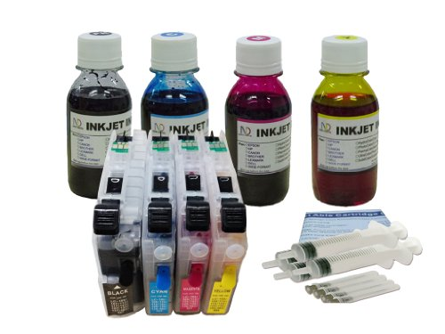 ND LC101 LC103 LC105 LC107 Refillable Ink Cartridges with Auto Reset Chips and 4 X 100ml Dye Ink Refill Kit for BROTHER for Brother MFC-J285DW MFC-J450DW MFC-J470DW MFC-J475DW MFC-J650DW MFC-J870DW MFC-J875DW MFC-J4310DW BMFC-J4410DW MFC-J4510DW MFC-J4610DW MFC-J4710DW MFC-J6920DW Printer