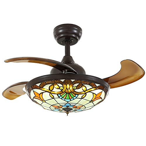 Siljoy Tiffany Style Ceiling Fans with Lights and Retractable Blades Dark Brown Invisible Fan Chandelier Dimmable Fandelier LED Lighting Stepless Adjustable (Warm/Daylight/Cool White) 36 INCH by Siljoy (Image #2)