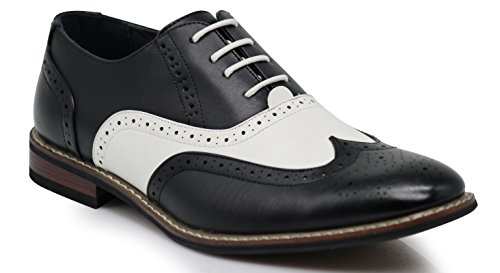 Wooden08N Men's Two Tone Wingtips Oxfords Perforated Lace Up Dress Shoes (10.5 D(M) US) Black White -