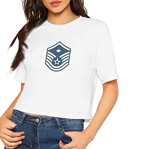Womens Cotton T Shirt Women Blouse Air Force Master Sergeant 1st SGT Diamond Rank Crop Tops White