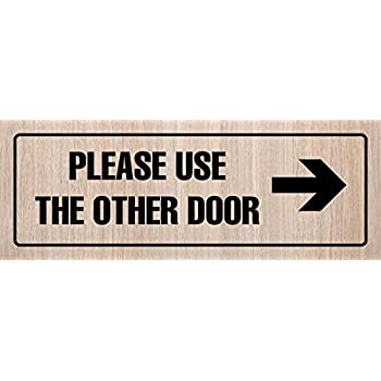 iCandy Products Inc Please Use The Other Door Left Arrow Business Office Door Building Sign 3x9 Inches Dark Walnut Plastic Single