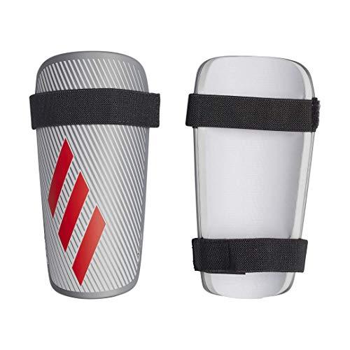 (adidas X LITE Soccer Shin Guards , Silver Metallic/Hi-Res Red/White  , L)