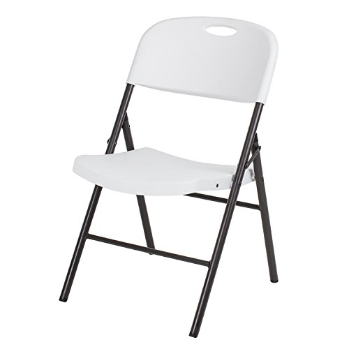 Wizfurniture 4-Pack Resin Folding Chair With Molded Seat and Back, White and Bronze Sand