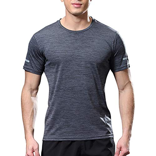 (Fashion Men's Short Sleeve Fit Comfortable Casual Slim T-Shirt Sport Top Blouse Dark Gray)
