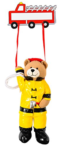 Plaque Hanging Name - Gift Giant Plush Bear And Hanging Name Tag - Fireman Teddy Bear with Wooden Name Plaque - Bedroom Decor