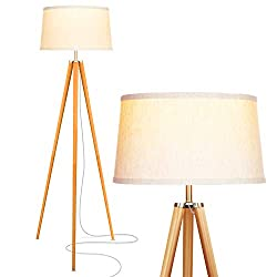 Brightech Emma LED Tripod Floor Lamp - Mid Century Modern Standing Light for Contemporary Living Rooms - Tall Survey Lamp with Wood Legs for Bedroom, Office - Wood