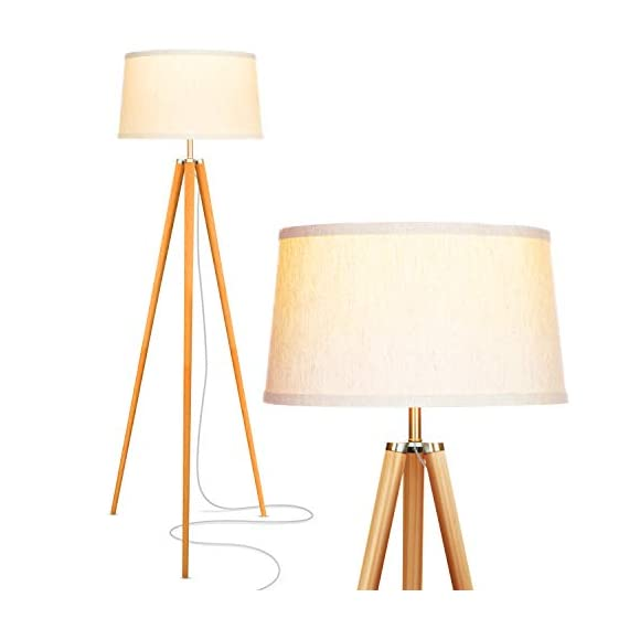 Brightech Emma LED Tripod Floor Lamp – Mid Century Modern Standing Light for Contemporary Living Rooms – Tall Survey Lamp with Wood Legs for Bedroom, Office – Wood