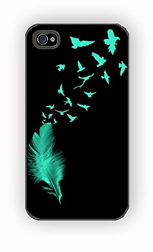 Feather to Birds Black Mint Stamp Out for iPhone 4/4S Case