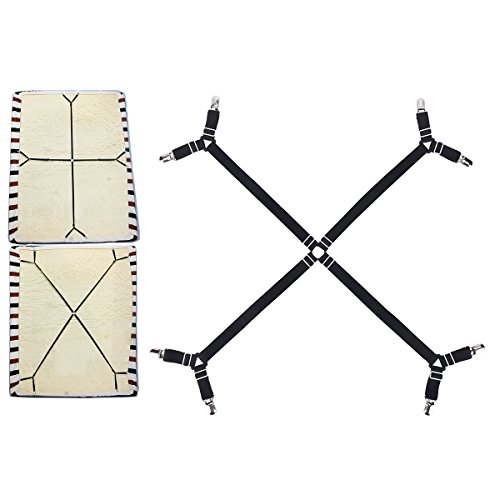Eagsouni Adjustable Crisscross Mattress Bed Fitted Sheet Fasteners Suspenders Grippers Clips Holder Elastic Straps