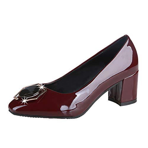 Toimothcn Women Round Toe Loafers Middle Chunky Heel Work Shoes Single Shoes Dress Sandals(Wine,US:6.5) -