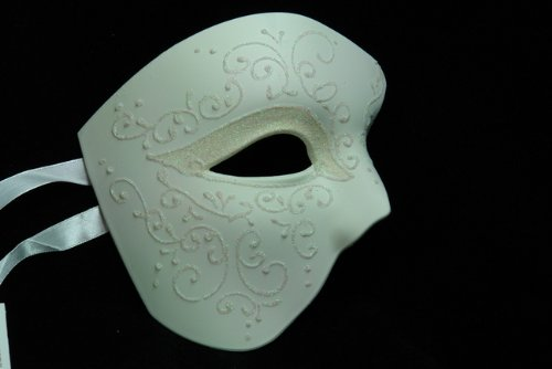 [NEW Laser Cut Phantom Of the Opera Masquerade Halloween Ballroom Mask - Elegantly Detailed and Decorated w/ Glitter Lining] (Opera Eye Mask)