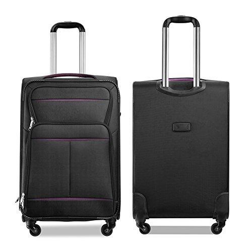 Luggage Set Suitcase Set 3 Piece Luggage Lightweight Soft Shell with 4 Rolling Spinner Wheels Super Durable (20 inch, 24 inch, 28 inch) (Black & purple) by LEMOONE (Image #3)