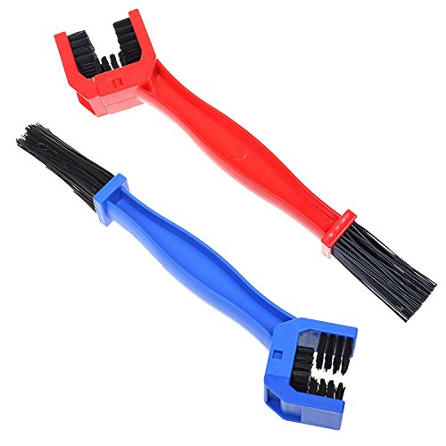 2 Piecese COOLWHEEL Motorcycle & Bicycle Chain Cleaning Tool Multi purpose Bike Cleaning Brush, Bike Chain Crankset Brush Washer Cleaner Cleaning Tool (Blue and Red)