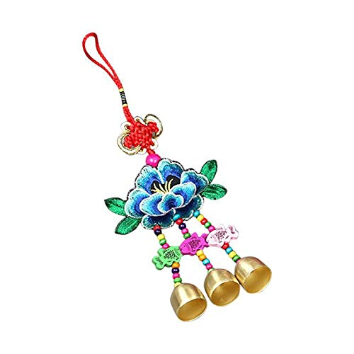 V2AMZ - Handmade Embroidered Lotus Sachets Chimes Chinese Knot Wood Fish Mascot Windchimes Festival Hanging Decoration