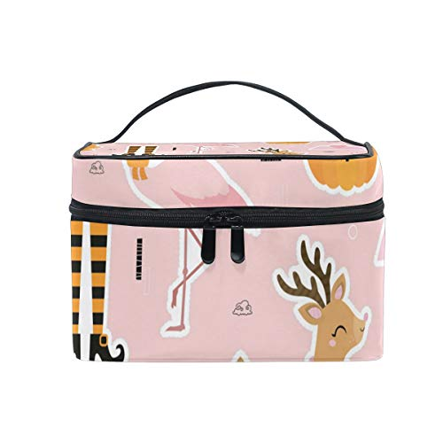 Happy Halloween Pumpkin Flamingo Makeup Case Versatile Portable Cosmetic Bag Travel Hanging Toiletry Pouch Organizer for Women Girls -