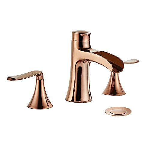 Wovier Rose Gold 8-16 Inch Widespread Waterfall Bathroom Sink Faucet,Two Handle Three Hole Lavatory Faucet,Basin Mixer Tap With Pop Up Drain ()