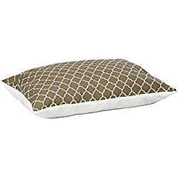 MidWest Homes for Pets Quiet Time Teflon Brown Pillow Dog Bed 48x36, 36 x 48, Large Dog Breed, Brown Geometric Pattern