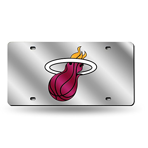 - Rico Industries NBA Miami Heat Laser Inlaid Metal License Plate Tag, Silver