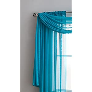 "Jane - Rod Pocket Semi-Sheer Curtains - 2 Pieces - Total size 108""W x 95""L - Beautiful, Natural Light Flow, Material, Durable - for Bedroom, Living Room, Kid's Room And Kitchen (Teal)"