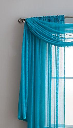 Jane - Semi-Sheer Window Scarf (54 x 216) - Elegant Home Decor Window Treatments - Add to Window Curtains for Enhanced Effect (Scarf 54x216, Teal)