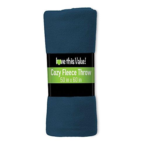 Cozy 50 X 60 Fleece Throw Blanket -Navy