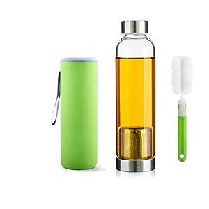 550ml Bottiglia del tè portatile ed elegante vetro con filtro in acciaio inox carrello da tè del setaccio di Infuser… 410mygCdQ6L. SS300