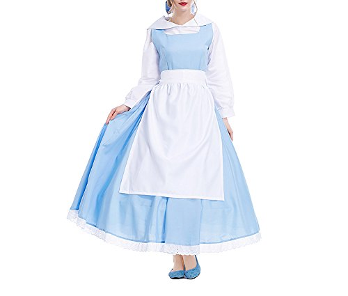 Yuntown Maid Dress Princess Belle Costume Halloween Cosplay Party Outfit