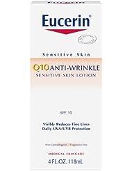 Eucerin Sensitive Facial Skin Q10 Anti-Wrinkle Sensitive Skin Lotion, Broad Spectrum SPF 15, 4 Ounce (Pack of 2)