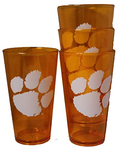 (Boelter Clemson Tigers 16oz Plastic Pint Set of 4)