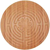 "BambooMN 12.5"" Dia Carbonized Brown Bamboo Finger Labyrinth for Meditation and Prayer, 7 Circuit Chartres Style, 3 Pieces"