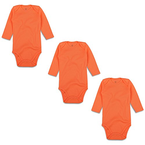 - OPAWO Baby Bodysuits Long Sleeve for Unisex Boys Girls 3 Pack (12-18 Months, Orange)