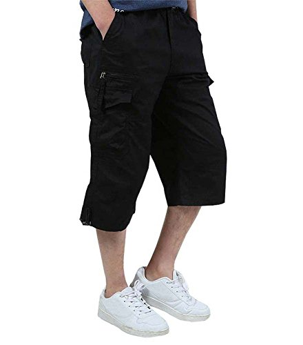 FASKUNOIE Men's Cargo Shorts Capri Hiking Camping Summer 3/4 Cotton Long Shorts with Zipper Pockets Cropped Pants Black ()