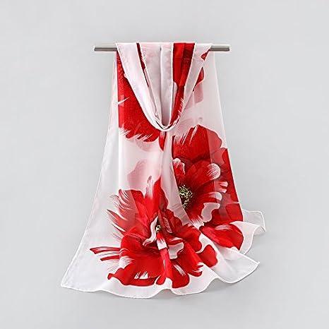 ZHANGYONG Bufanda Bufanda de Verano Toalla de Playa pañuelo Rojo/Flor: Amazon.es: Deportes y aire libre