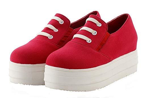 Sin De Mujeres Zapatos Sólido Medio Tacón Tacón Rojo Gmxdb006780 Lona Pu Cordones Agoolar SCqIC