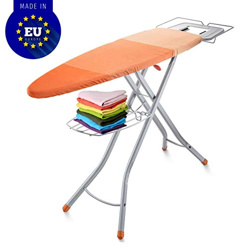 Bartnelli Adjustable Ironing Board with Cover | Steam Iron Rest | Stability Space Saving Size 48 x 16 inches European Made Board