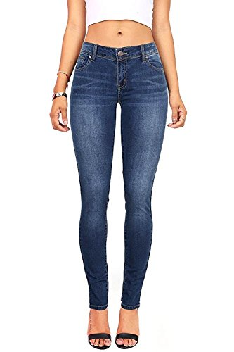Wax Denim Women's Juniors Basic Stretchy Fit Skinny Jeans (1, Denim)