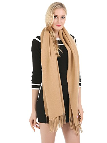 """Saferin 78"""" X 28"""" Women Extra Large Warm Winter Solid Cashmere Lambswool Pashmina Wrap Shawl Scarf (11.camel)"""