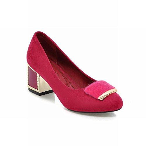 Charm Foot Womens Tacco Medio Scarpe Col Tacco Medio Scarpe Rosso Rosa