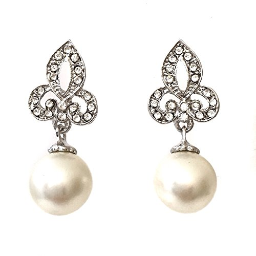 Fleur De Lis Imitation Pearl Rhinestone Silver Tone Drop Dangle Post Earrings