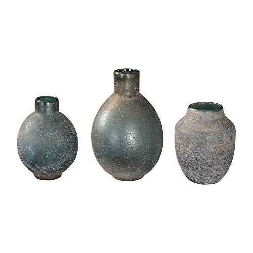 Diva At Home Set of 3 Glass Weathered Blue-Green Rust Ivory Glaze Vases 8