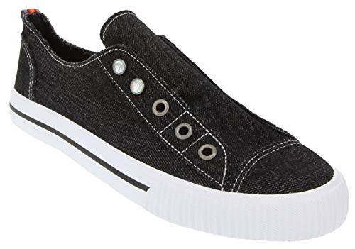 Rampage Women's Gizelle Comfortable Slip On Sneaker Shoe with No-Tie Laces and Cute Design 7 Black ()