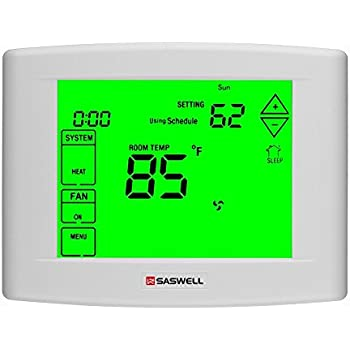 Wifi Thermostats for Home with 7 Days Programmable, 5 Inches Touch Screen Display,Remote Control,Dual powered,3 Heat 2 Cool,Saswell SAS6000UTK-7-Wifi