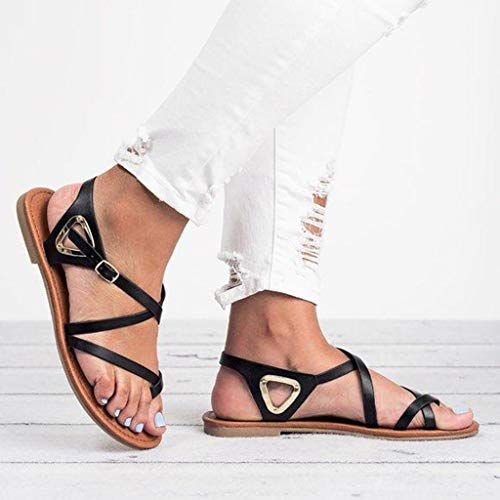 Y De 2019 Verano Tamaño Absolute Gran Mujer Chanclas Negro Sandalias Planas Playa Zapatos Para Romanas nqPT7Pp