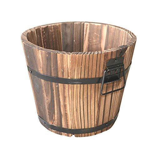 Garden Urns Planters Containers (Ajhgqejfw Flower pots Wooden Plant Pots Garden Planter Round Wood Garden Flowerpot Decor Plant Container Box Brown Medium (15x12x13 cm) (Color : -, Size : -))