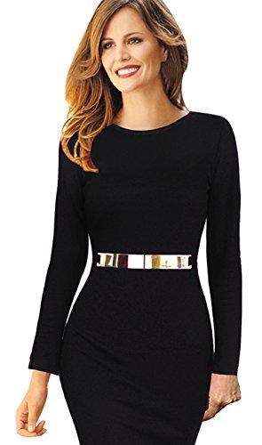 [Merope J Women Long Sleeve Slim Round Neck Casual Cocktail Party Evening Dresses(XL,Black)] (Dance Studio Costumes Companies)