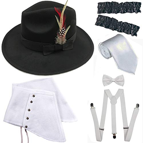 1920s Trilby Manhattan Fedora Hat, Gangster Spats/Armbands,Suspenders Y-Back Trouser Braces,Pre Tied Bow Tie,Tie (OneSize, Black-White) -